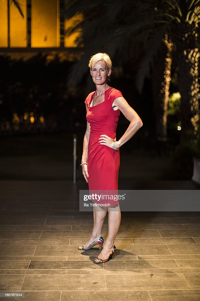 Judy Murray of Great Britain posing for a picture before the official team dinner ahead of the Fed Cup Group B matches in the Euro/Africa Zone Group 1 at the Sport Hotel on February 5, 2013 in Eilat, Israel.