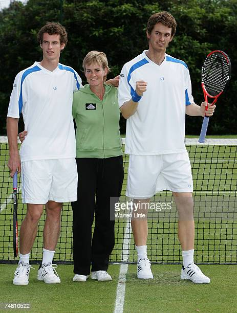 Judy Murray poses with her son Andy Murray of Scotland and his Madame Tussauds wax figure at The Boodles Challenge tennis tournament at The Stoke...