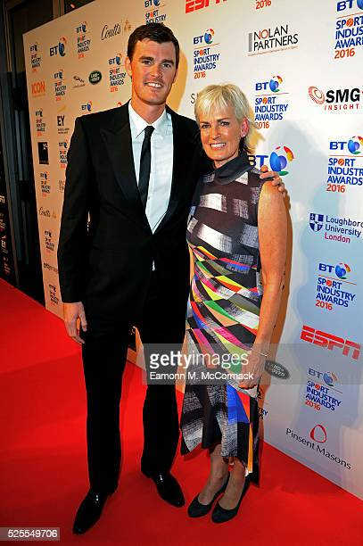 Judy Murray poses with son Jamie on the red carpet at the BT Sport Industry Awards 2016 at Battersea Evolution on April 28 2016 in London England The...