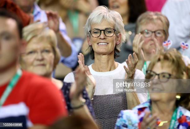 Judy Murray shows her emotions after watching her son Jamie Murray and his doubles partner Dominic Inglot of Great Britain just after they had...