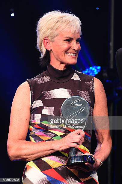 Judy Murray smiles after receiving receiving Outstanding Contribution to Sport Award from Prince Harry at the BT Sport Industry Awards 2016 at...