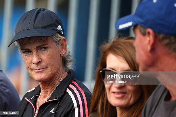 Judy Murray watches the second round match between Jocelyn Rae of Great Britain with Anna Smith of Great Britain against Johanna Konta of Great...