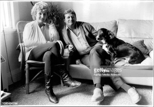 Judy Nunn and Bruce Venables who are running 'Fun and Fantasy'weekendsJudy and Bruce were pictured in the lounge room with 'Trombone' the dog July 8...