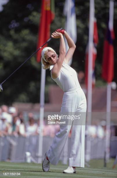 Judy Rankin of the United States drives off the tee during the Colgate European Women's Open golf tournament on 5th August 1979 at the Sunningdale...