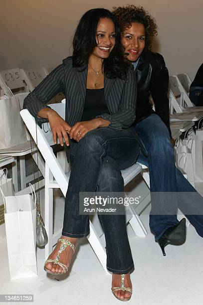 Judy Reyes and Lucia Rijker during MercedesBenz Fall 2005 LA Fashion Week at Smashbox Studios Kevan Hall Front Row at Smashbox Studios in Culver City...