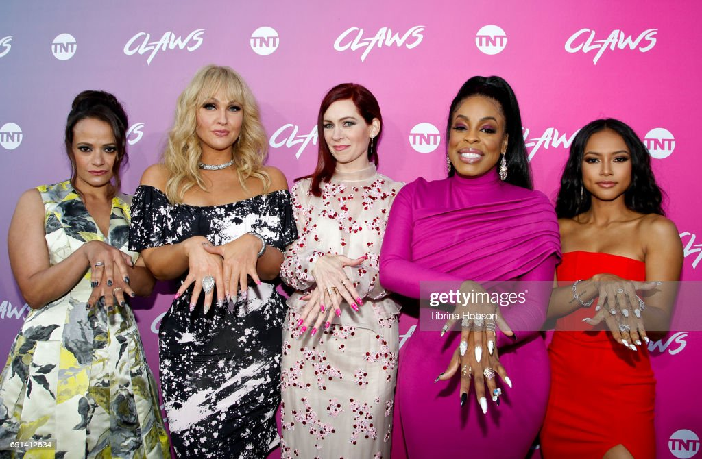 Judy Reyes, Jenn Lyon, Carrie Preston, Niecy Nash and Karrueche Tran attend the premiere of TNT's 'Claws' at Harmony Gold Theatre on June 1, 2017 in Los Angeles, California.