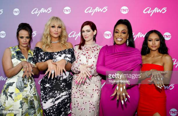 Judy Reyes Jenn Lyon Carrie Preston Niecy Nash and Karrueche Tran attend the premiere of TNT's 'Claws' at Harmony Gold Theatre on June 1 2017 in Los...