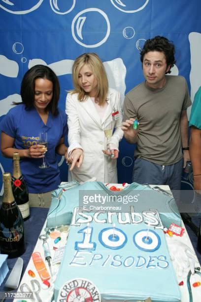 "Judy Reyes, Sarah Chalke and Zach Braff during ""Scrubs"" Celebrates 100th Episode in Valley Village, California, United States."