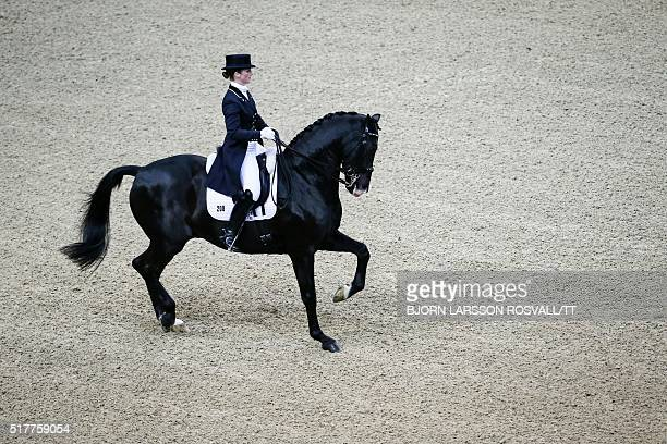 Judy Reynolds of Ireland rides her horse Vancouver K during the Reem Acra FEI World Cup Dressage Final II event during the Gothenburg Horse Show at...