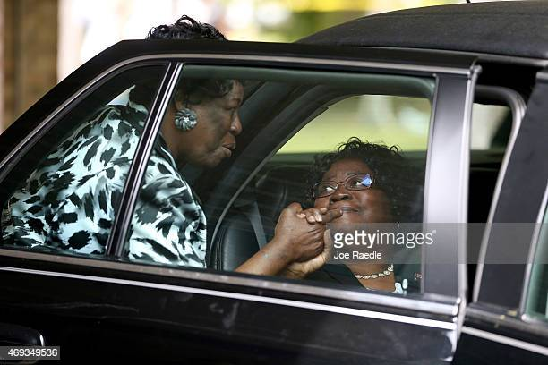 Judy Scott is greeted after the funeral for her son Walter Scott at the WORD Ministries Christian Center after he was fatally shot by a North...