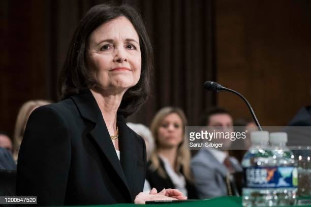 Judy Shelton testifies before the Senate Banking Housing and Urban Affairs Committee during a hearing on their nomination to be memberdesignate on...