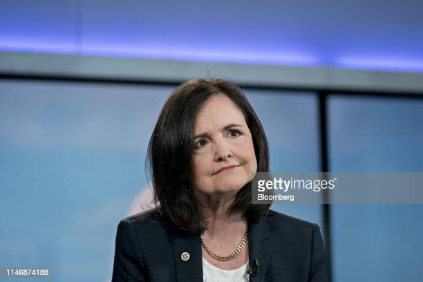 Judy Shelton US executive director for the European Bank for Reconstruction and Development pauses while speaking during a Bloomberg Television...