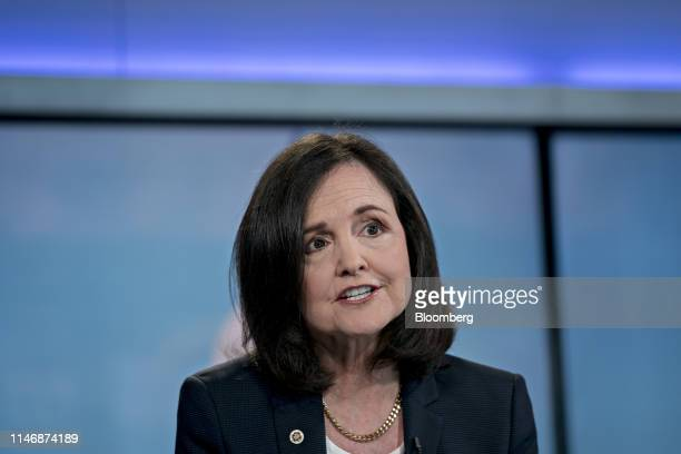Judy Shelton US executive director for the European Bank for Reconstruction and Development speaks during a Bloomberg Television interview in...