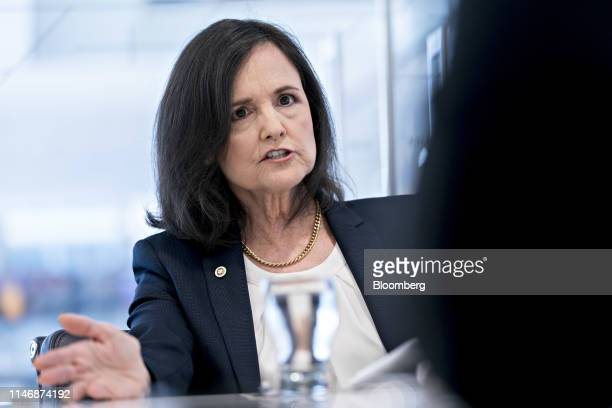 Judy Shelton US executive director for the European Bank for Reconstruction and Development speaks during an interview in Washington DC US on...