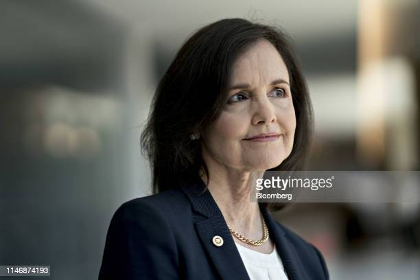 Judy Shelton US executive director for the European Bank for Reconstruction and Development stands for a photograph after a Bloomberg Television...