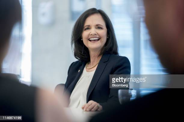 Judy Shelton US executive director for the European Bank for Reconstruction and Development smiles during an interview in Washington DC US on...