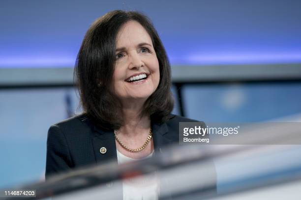 Judy Shelton US executive director for the European Bank for Reconstruction and Development smiles during a Bloomberg Television interview in...