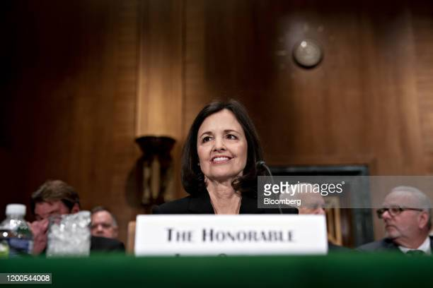 Judy Shelton US President Donald Trump's nominee for governor of the Federal Reserve arrives to a Senate Banking Committee confirmation hearing in...