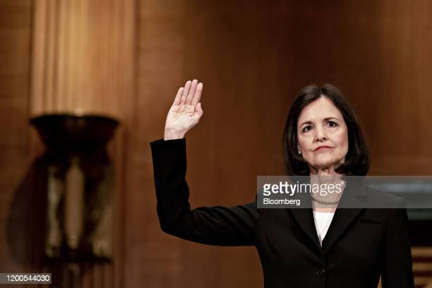 Judy Shelton US President Donald Trump's nominee for governor of the Federal Reserve swears in to a Senate Banking Committee confirmation hearing in...