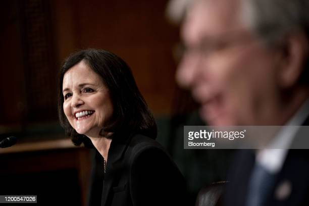 Judy Shelton US President Donald Trump's nominee for governor of the Federal Reserve smiles during a Senate Banking Committee confirmation hearing in...
