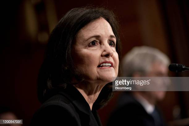 Judy Shelton US President Donald Trump's nominee for governor of the Federal Reserve speaks during a Senate Banking Committee confirmation hearing in...