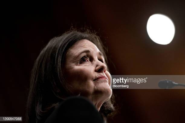 Judy Shelton US President Donald Trump's nominee for governor of the Federal Reserve listens during a Senate Banking Committee confirmation hearing...