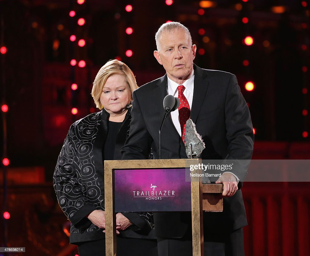 Judy Shepard and Dennis Shepard speak onstage at Logo's 'Trailblazer Honors' 2015 at the Cathedral of St. John the Divine on June 25, 2015 in New York City.