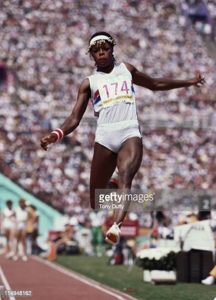 Judy Simpson of Great Britain during the Long Jump event of the Women's Heptathlon at the XXIII Summer Olympics on 4th August 1984 at the Los Angeles...