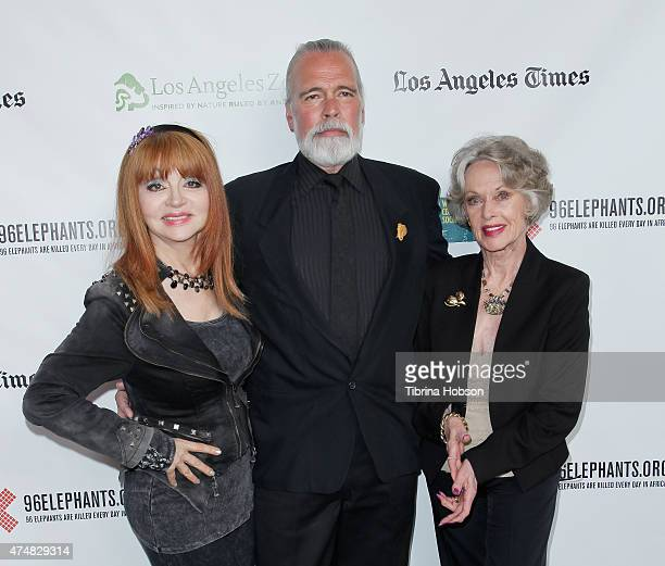Judy Tenuta Chris Gallucci and Tippi Hedren attend the premiere of 'Illicit Ivory' hosted by Tippi Hedren at Los Angeles Zoo on May 26 2015 in Los...