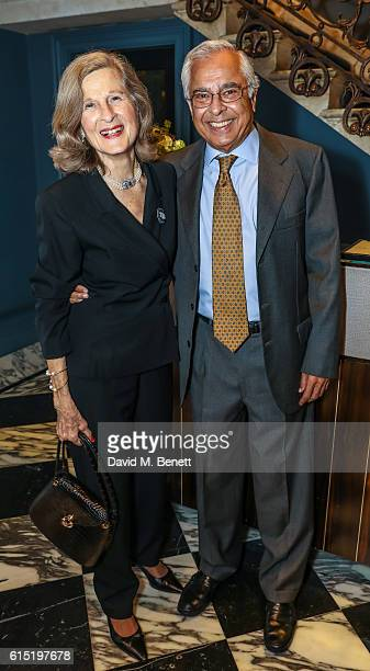 Judy Waney and Arjun Waney attend a dinner at The Arts Club in honour of the Club presenting Professor Stephen Hawking with the Luminary Lifetime...