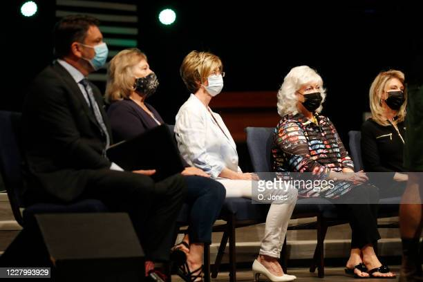 Judy Watson Lynda Sanchez Gladys Cross and Donna Pettis share the stage during a news conference at Riverhills Church of God on August 10 2020 in...