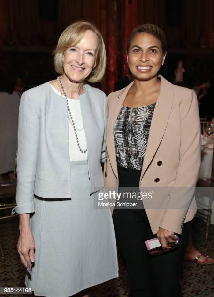 Judy Woodruff and Keisha SuttonJames attend The Gracies presented by the Alliance for Women in Media Foundation at Cipriani 42nd Street on June 27...