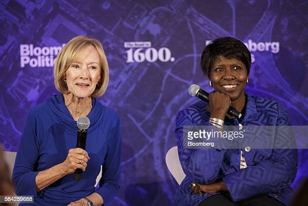 Judy Woodruff comanaging editor of PBS NewsHour left speaks as Gwen Ifill comanaging editor of PBS NewsHour smiles during a Bloomberg Politics...