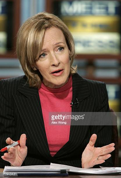 Judy Woodruff of PBS speaks during a taping of 'Meet the Press' at the NBC studios January 7 2007 in Washington DC Woodruff spoke on various topics...