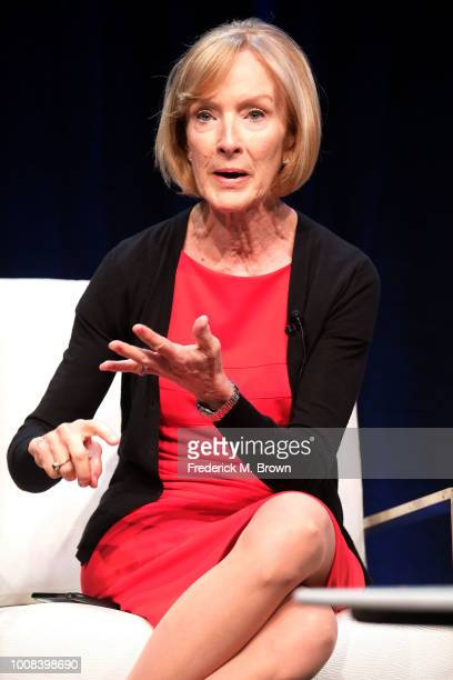 Judy Woodruff of the television show PBS Newshour speaks during the PBS segment of the Summer 2018 Television Critics Association Press Tour at the...