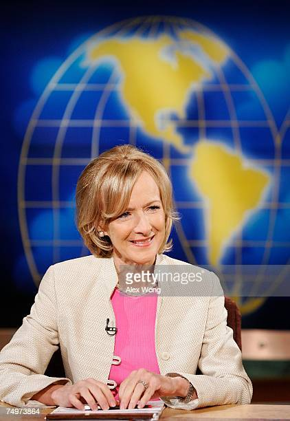 Judy Woodruff senior correspondent with PBS's The NewsHour with Jim Lehrer smiles during a taping of Meet the Press at the NBC Studios July 1 2007 in...