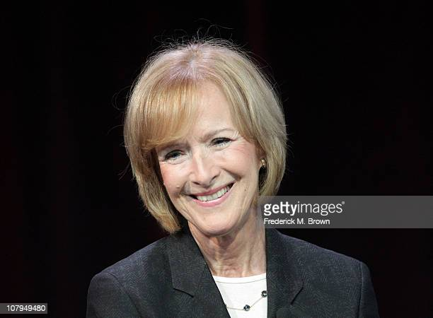 Judy Woodruff speaks during the 'PBS Newshour' panel at the PBS portion of the 2011 Winter TCA press tour held at the Langham Hotel on January 9 2011...