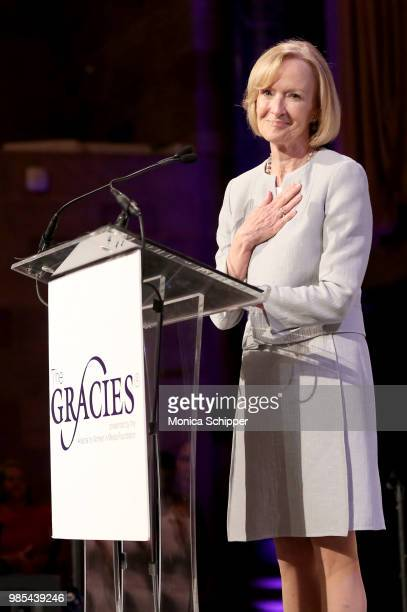Judy Woodruff speaks onstage at The Gracies presented by the Alliance for Women in Media Foundation at Cipriani 42nd Street on June 27 2018 in New...