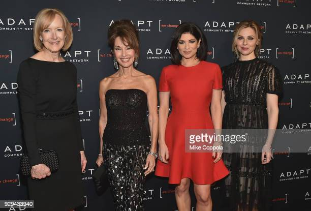 Judy Woodruff Susan Lucci Tamsen Fadal and Cara Buono attend the Adapt Leadership Awards Gala 2018 at Cipriani 42nd Street on March 8 2018 in New...