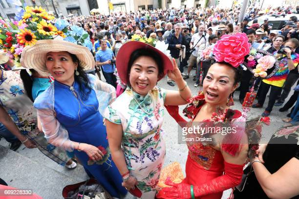 Judy Zhang Linda Zhu and Judy Yu take part in the Easter Parade on Fifth Avenue at St Patrick's Cathedral on April 16 2017 in New York City USA