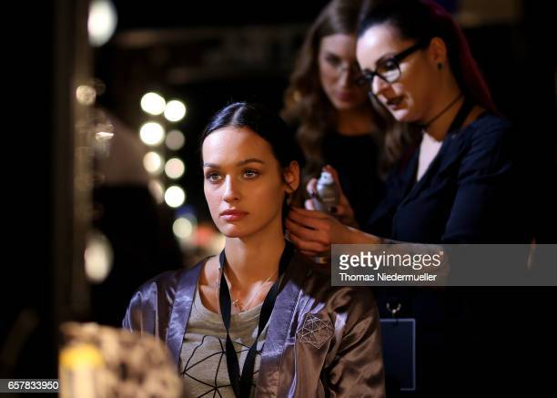 Jueli Mery is seen backstage prior to the sOliver THE FUSION COLLECTION Fashion Show at Festhalle on March 25 2017 in Frankfurt am Main Germany