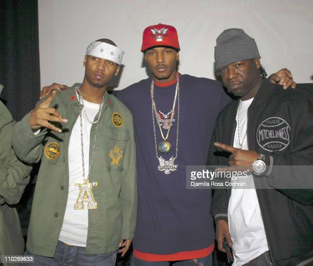 Juelz Santana, Cam'ron and Hell Rell during Cam'Ron Press Conference - January 25, 2006 at Tribeca Cinemas in New York City, New York, United States.