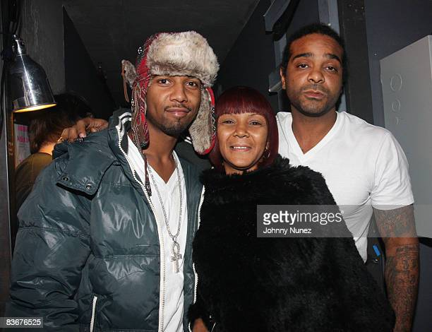 Juelz Santana Nancy Jones and Jim Jones attend the opening night of Hip Hop Monologues Inside The Mind Of Jim Jones at the 37 Arts Theatre on...