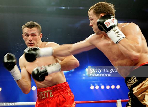 Juergen Braehmer of Germany in action during his WBO Super Middleweight InterContinental Championship fight against Mario Veit of Germany during the...
