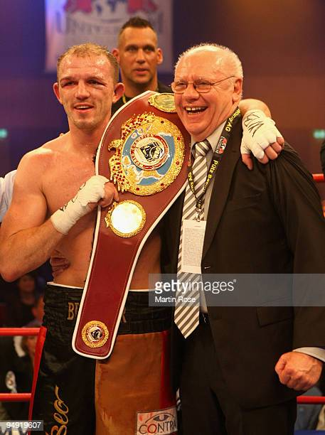 Juergen Braehmer of Germany poses with the trophy after the WBO light heavyweight world championship fight during the Universum Champions night...