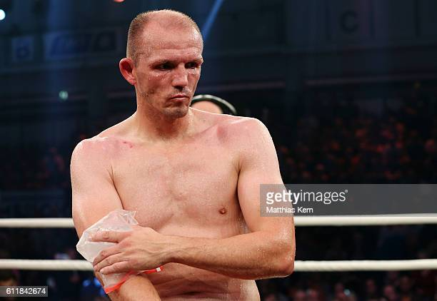 Juergen Braehmer shows his frustration after loosing the WBA light heavyweight world championship title fight between Juergen Braehmer of Germany and...