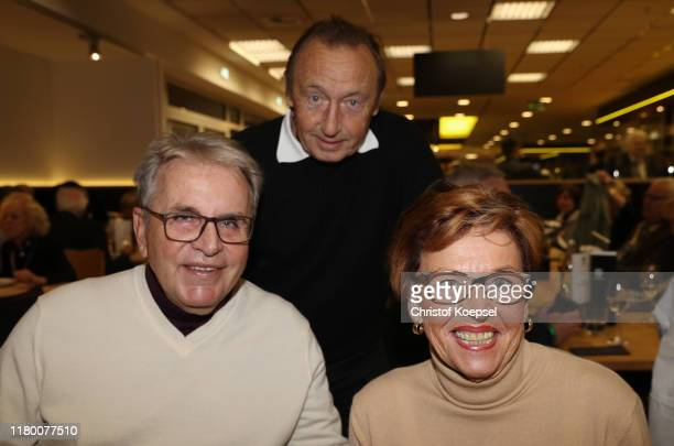 Juergen Croy, Joachim Streich and Christa Croy attend the Club Of Former National Players Meeting at Signal Iduna Park on October 09, 2019 in...