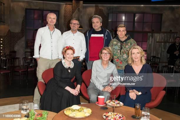 Juergen Domian Joerg Helmerich Arnd Zeigler Enie van de Meiklokjes Bettina Boettinger and Maria Furtwaengler attend the Koelner Treff TV Show at the...