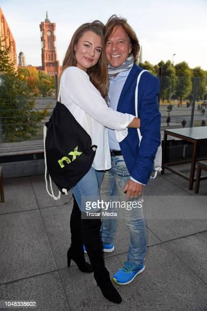 Juergen Drews and his daughter Joelina Drews attend the nexible premiere of 'Juergen Drews sucht seinen Thronfolger' at Haus Ungarn in Mitte on...