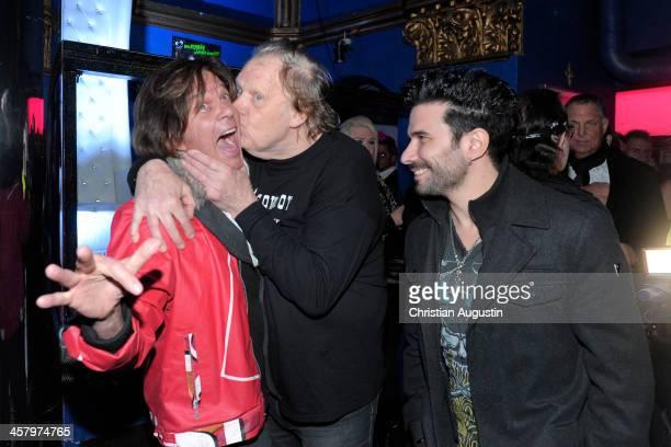 """Juergen Drews, Gunter Gabriel and Marc Terenzi attend the premiere of the short film """"Das verlorene Koenigreich"""" at Temptation Club on December 19,..."""